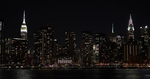 New York City night skyline buildings manhattan midtown