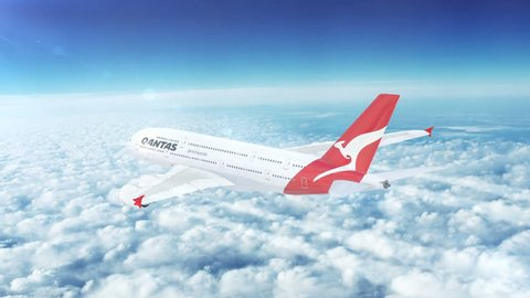 UNITED STATES, CIRCA 2016:  In-flight Qantas (Australia) Airbus A380 passenger aircraft flying high above the skies. A380 is a double-deck, wide-body, four-engine jet airliner manufactured by Airbus.