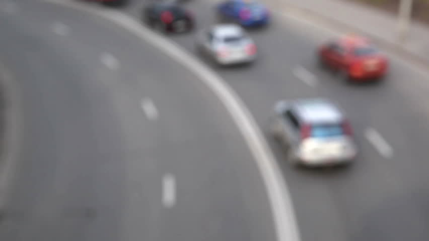 Cars in turn, defocused