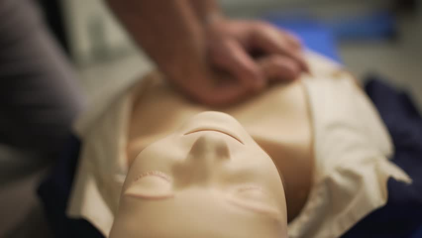 Closeup of first aid CPR doll dummy for cardio-pulmonary reanimation training. Bottom view.