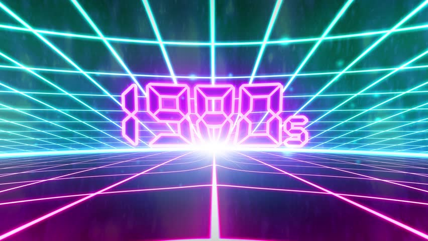 1980s retro 80s VHS tape video game intro landscape vector arcade wireframe 4k