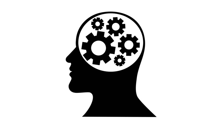 Silhouette Of Head Man Thinking Brain Gears Stock Footage Video 21115924