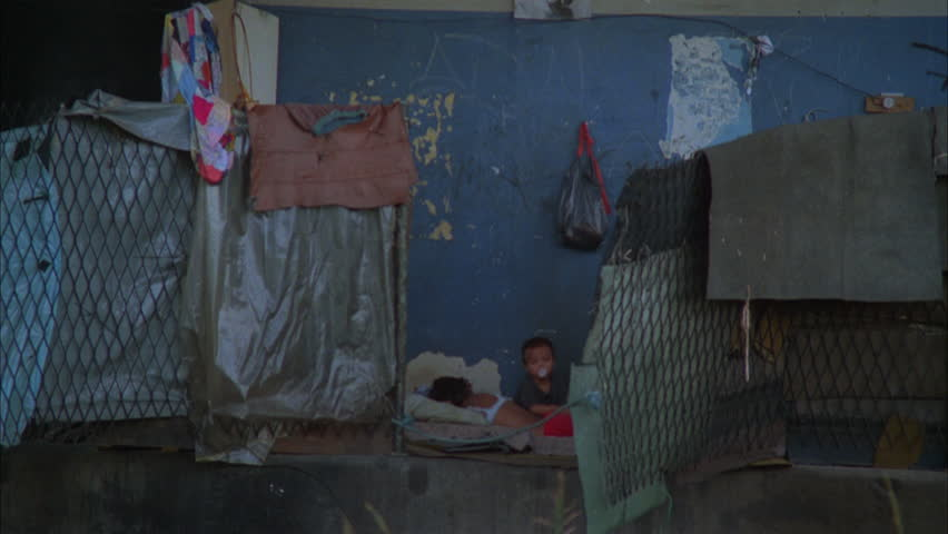 day Slow MPOV Homeless mother child next rundown building, poverty #21133144