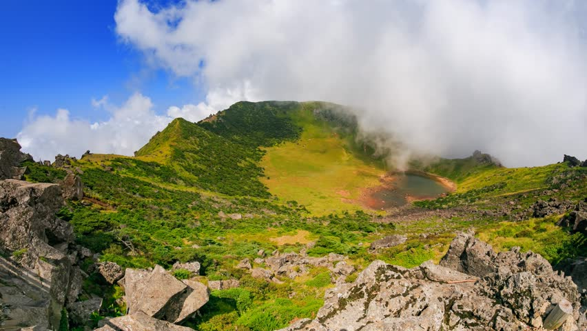 4K Timelapse Beautiful view of Hallasan volcano crater on Jeju Island in South Korea.