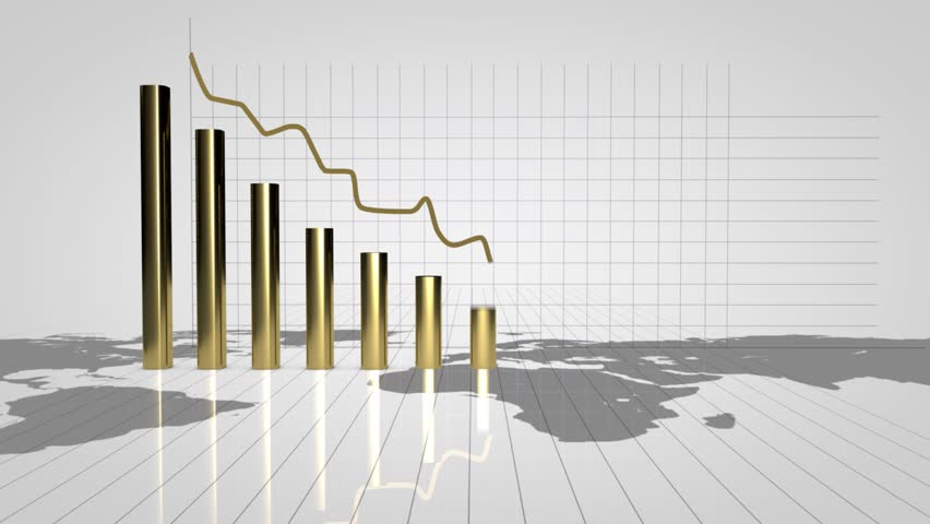 Financial charts showing a decreasing tendency.