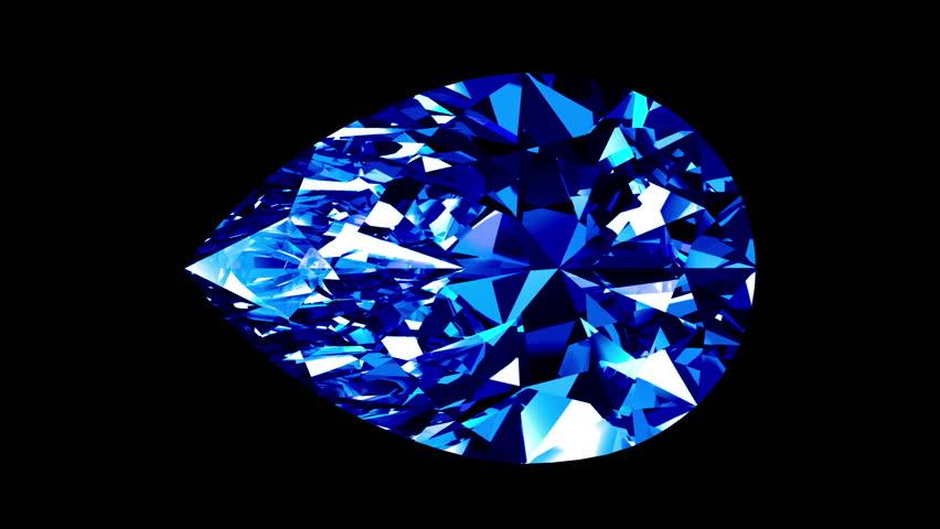 Sapphire Pear Cut. Looped. Alpha Matte. 3D Animation.  | Shutterstock HD Video #21166594