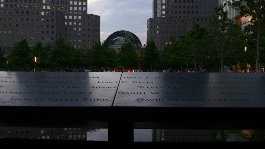 NEW YORK, USA - MAY 2016: manhattan twilight 9/11 memorial fountain panorama 4k circa may 2016 new york, usa.