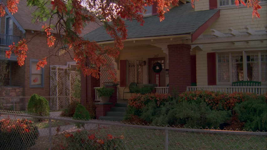day static raked right two story house craftsman house yellowwithred trim porch - Trim A Home Christmas Lights