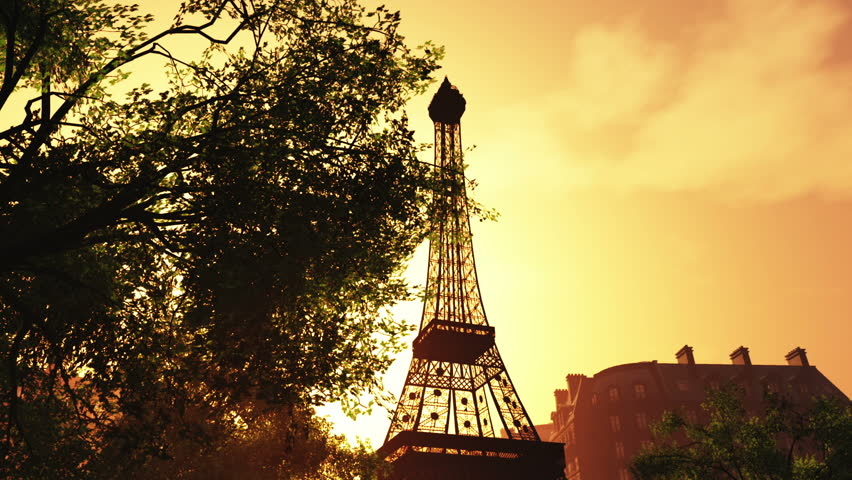 Sunset in Paris 3D animation