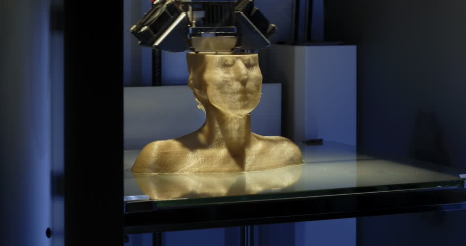 Working 3d printer. 3d printing a female bust. 4K time lapse video.  Close Up - CU