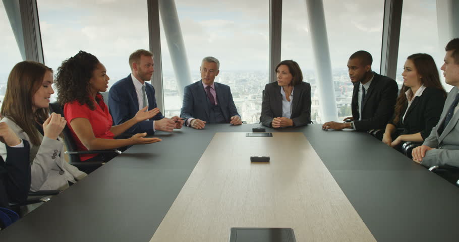4k, A team of suit-clad business people having a heated debate in boardroom meeting. Slow motion. | Shutterstock HD Video #21224764