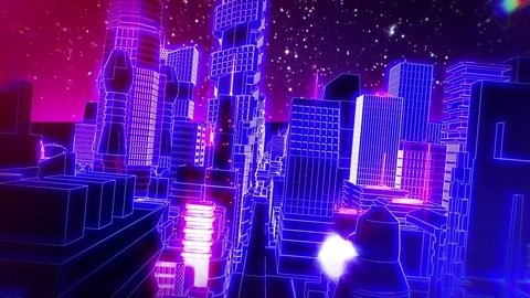 Retro futuristic synth wave cityscape seamless background.
