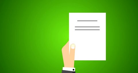 Flat Vector Animation Footage of Business Man Holding Contract Agreement of a Signed Treaty Paper, Legal Document Symbol With Stamp and Documentation in Green