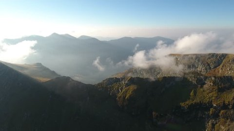 4K aerial shot of the mountains Around Balea Lake on Transfagarasan – one of the highest altitude mountain roads in Romania