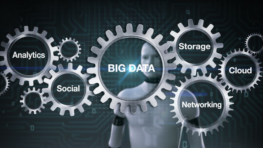 Gear with keyword, Analytics, Social, Storage, Cloud , Networking, Robot cyborg touching screen 'BIG DATA' | Shutterstock HD Video #21269884
