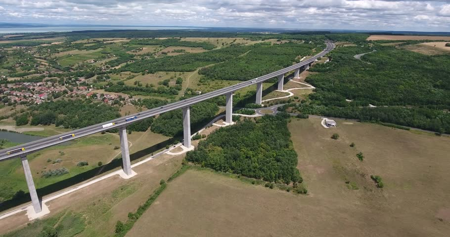 Aerial video shows the Koroshegyi Alley Bridge in Hungary | Shutterstock HD Video #21280324