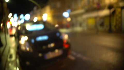 Drunk man POV looking for his car parked near bar, blurred vision, intoxication