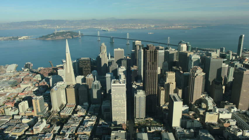 Aerial view to the city of San Francisco and Oakland Bay Bridge, California, North America, USA