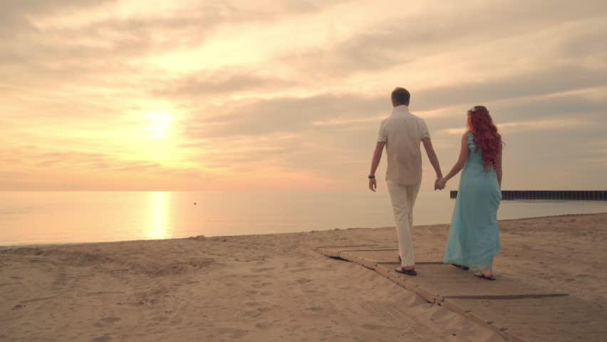 Romantic Couple Beach Couple Walking Stock Footage Video 100