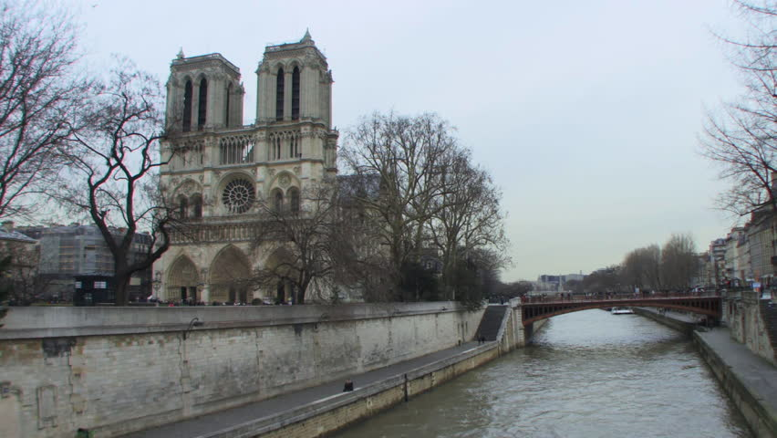 Wide shot Time lapse of Notre Dame, Paris, France | Shutterstock HD Video #2130644