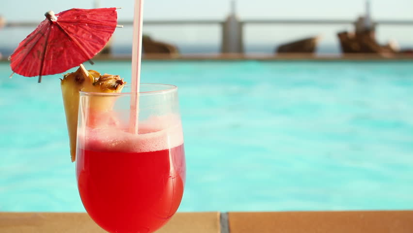 Summer Drink With Umbrella By The Swimming Pool Stock Footage Video 2131274