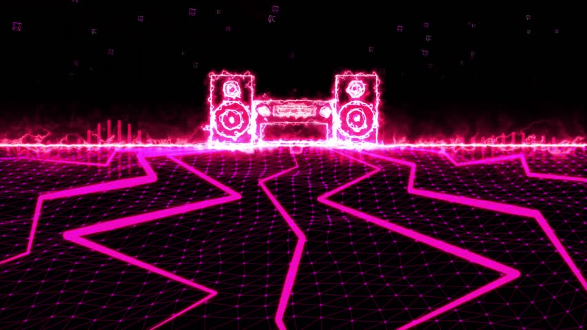 Seamless 3D abstract animation of pink sound wave stereo equalizer. In 3d geometric polygon abstract terrain motion with glowing light stereo background pink beam shooting. Used for music equalizer. | Shutterstock HD Video #21312802