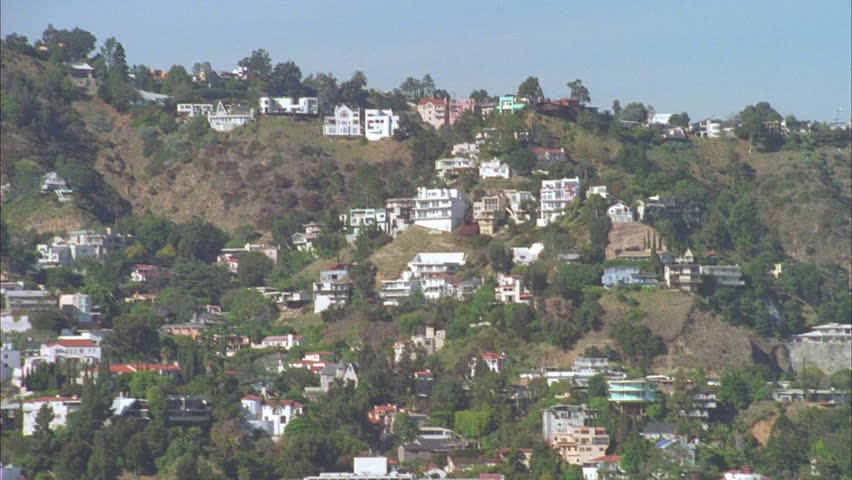 Day aerial down houses Hollywood Hills, Los Angeles | Shutterstock HD Video #21320194