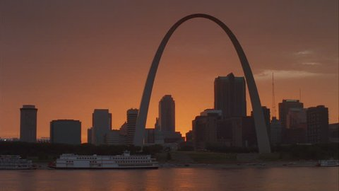 SUNSET From over water St Louis city famous archway