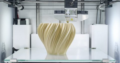 3d printing vase. 4.0 industrial revolution. 4k time lapse video