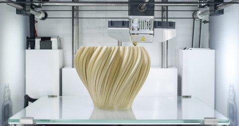 3d printing vase. 4.0 industrial revolution. 4k time lapse video