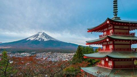 4K motion Time lapse of mount Fuji and Chureito Pagoda at sunrise in autumn. Chureito pagoda is located in Fujiyoshida, Japan.