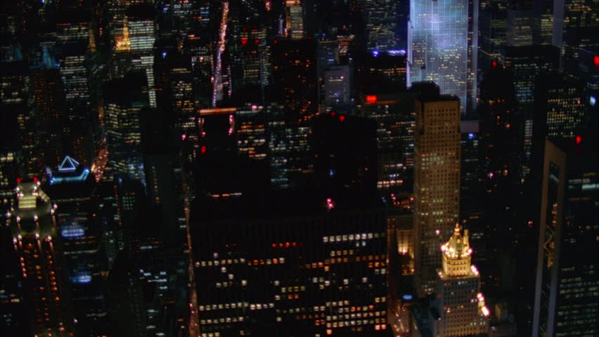 Night Aerial Down angle over New York City, hi rises | Shutterstock HD Video #21356134