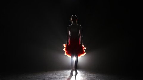 Beautiful girl dancing cha-cha-cha in the studio on a dark background, smoke, silhouette