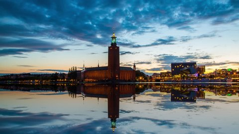 Time lapse of Stockholm's most famous landmark, The City Hall. This is where the Nobel prize banquet takes place every year.