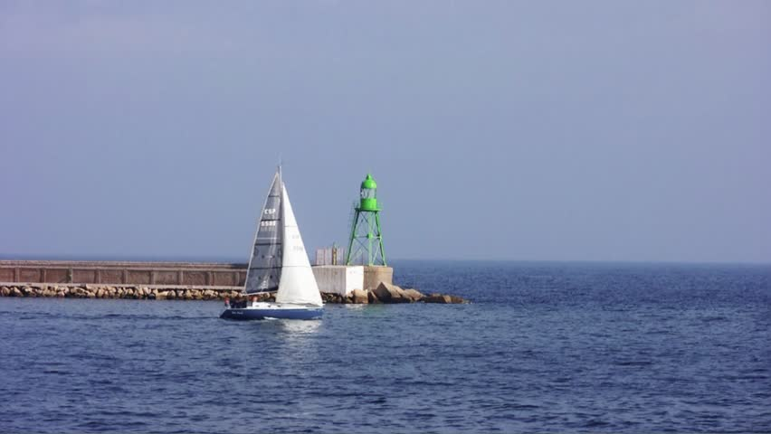 Sailboats close to Alicante green lighthouse | Shutterstock HD Video #21441568