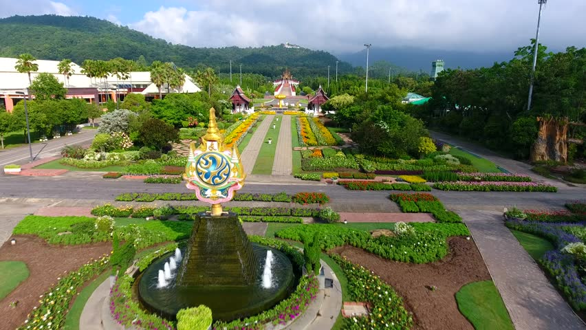 Aerial view of the park with garden and pagoda   Shutterstock HD Video #21454834