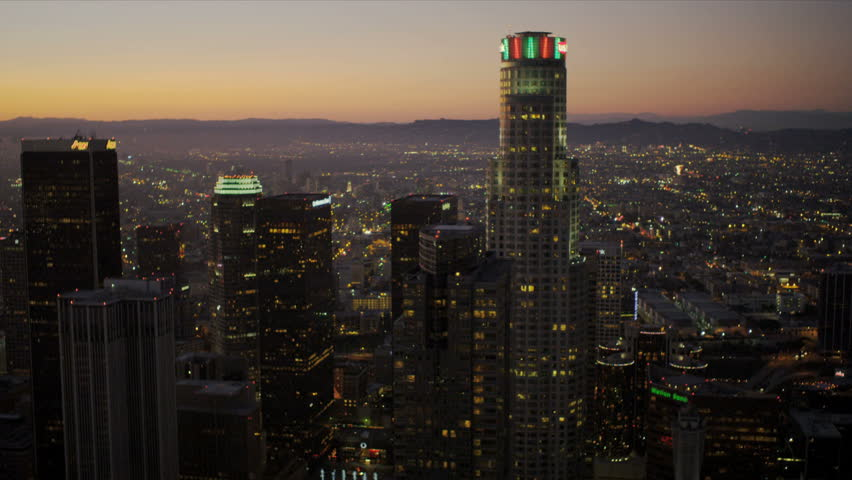 Aerial view at dusk of the city skyscrapers of Los Angeles    Shutterstock HD Video #2148434