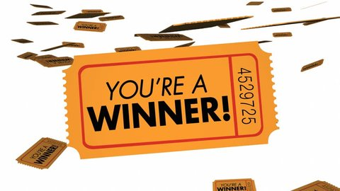 Youre a Winner Raffle Lottery Tickets Luck 3d Animation