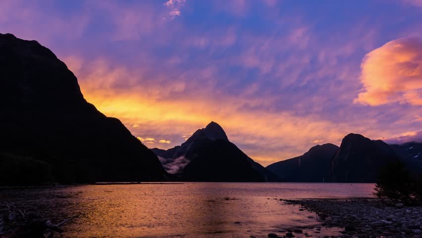 Vibrant sunset over Milford Sound, South Island, New Zealand