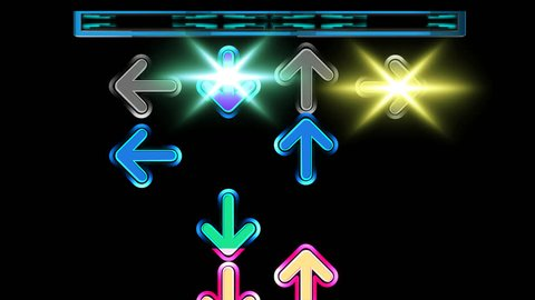 Seamless animation arrows moving up the screen and disappear on the top. Colorful arrows in dancing game concept. Arrow moving pattern with black background in 4k.