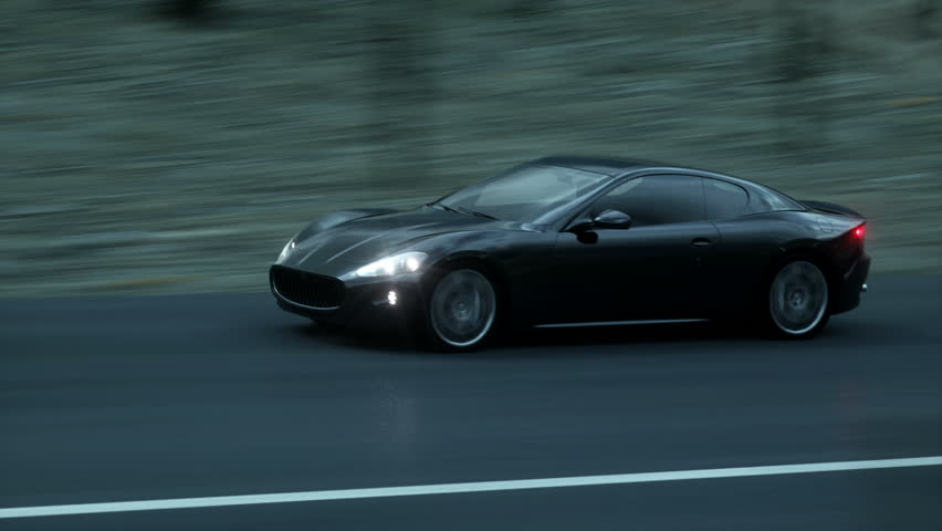 Black sport car on road, highway. Very fast driving. Dark environment. Super realistic 4K animation.