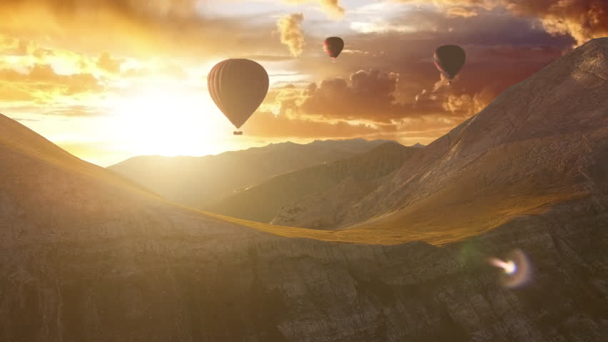 Aerial Flight Over Hot Air Baloons in a Mountain Range at Sunset Beautiful Nature Summer Landscape Beauty Religion Relaxation Inspiration Treavel Destination Vacation