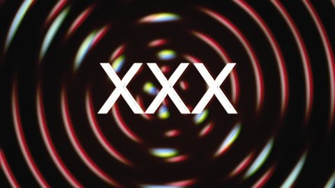 The text XXX appears over a set of spinning circles with a lens flare at the beginning. Grindhouse low-budget b-movie style.