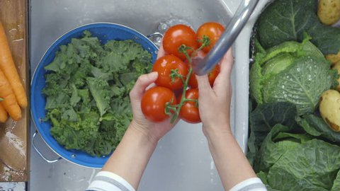 Directly above shot of woman's hands washing tomatoes under running water in sink. Close-up of fresh kale leaves are kept in colander. Female is preparing food in kitchen at home.