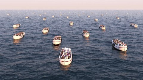 Refugees on boats floating on the sea