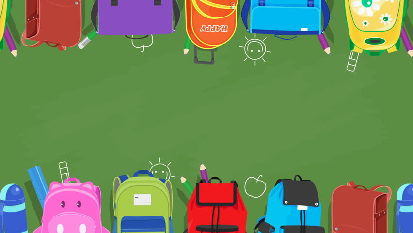 back to school animated background school bags sliding on