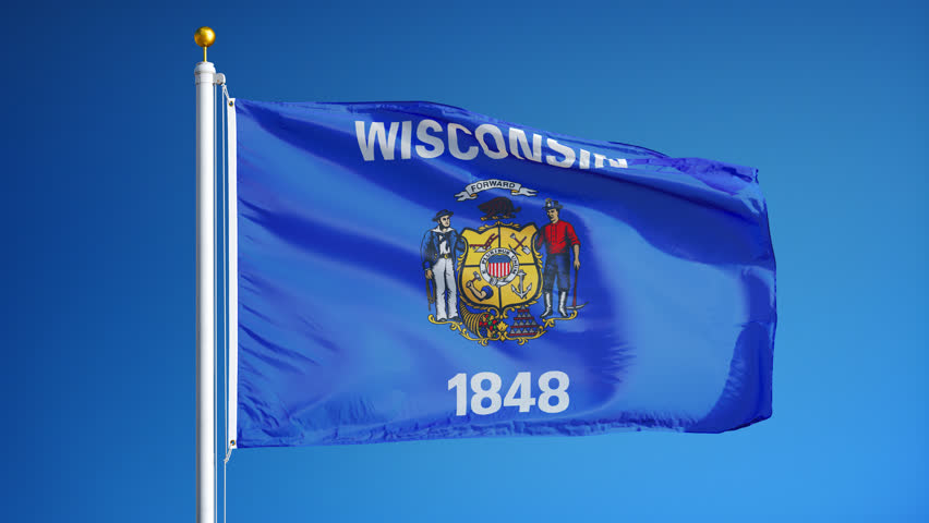 Wisconsin (U.S. state) flag waving in slow motion against blue sky, seamlessly looped