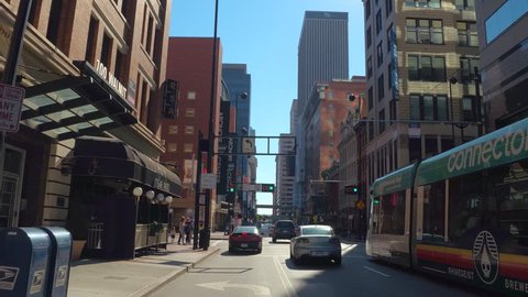 CINCINNATI - NOVEMBER 7: Driving through Downtown Cincinnati Ohio which was settled in 1788 north of the Ohio River November 7, 2016 in Cincinnati OH, USA