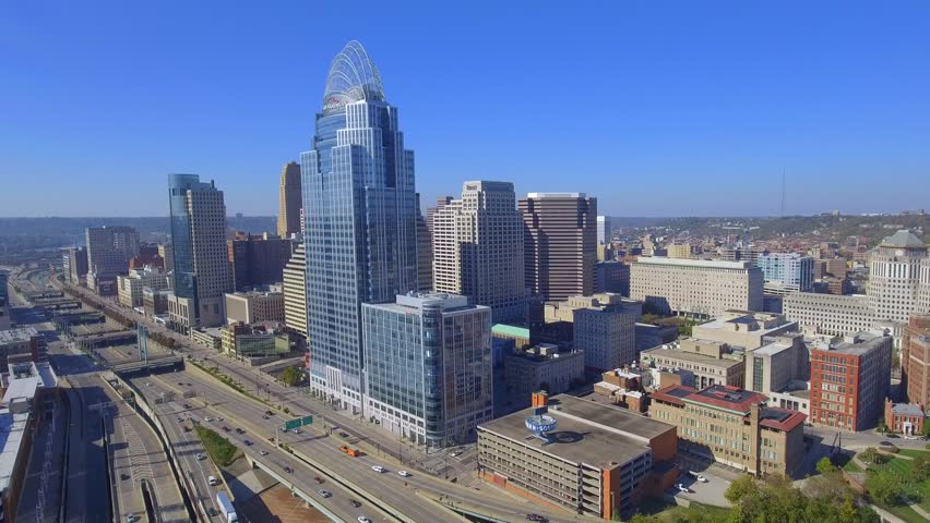 CINCINNATI, OH - NOVEMBER 7, 2016: Aerial video of Downtown by Highway I71 and the Great American Tower at Queen City Square November 7, 2016 in Cincinnati Ohio, USA
