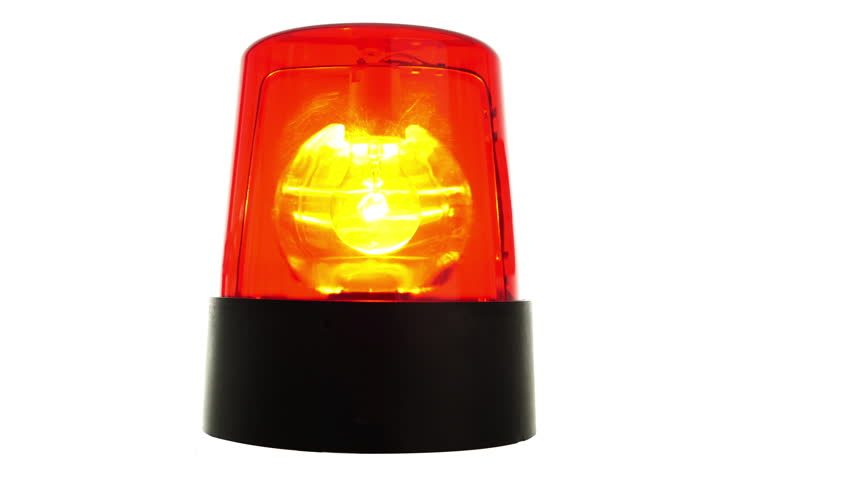 4k footage, red warning light isolated on white seamless loop